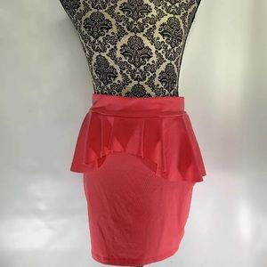 BEBE  Stretch Peplum Ruffle Top Nylon Fitted Skirt